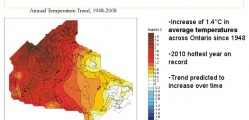 Is an increase of 1.4 degrees C across Ontario since 1948 an indicator? The Green Party of Ontario believe it is.