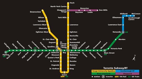 Toronto Subway map circa 2010- The Toronto Subway covered approximately 60% of the city area- Metrolinx hope to expand coverage and have support from Toronto Mayor Rob Ford
