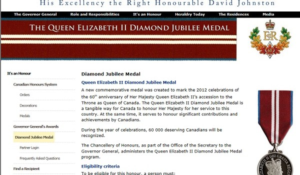 The Queen Elizabeth Diamond Jubilee Medal is intended to honour significant contributions and achievements by Canadians. 60,000 medals are to be minted.