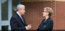 (The municipality of) Norfolk County Mayor Dennis Travale speaks with Ontario Premier Kathleen Wynne outside Talbot Gardens, Simcoe. Norfolk is one of 21 municipalities to be approved for new provincial funding. contributed photo
