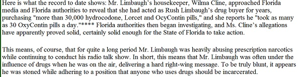 What the Bradley Report had to say about Rush Limbaugh's much-publicized addiction to oxycontin
