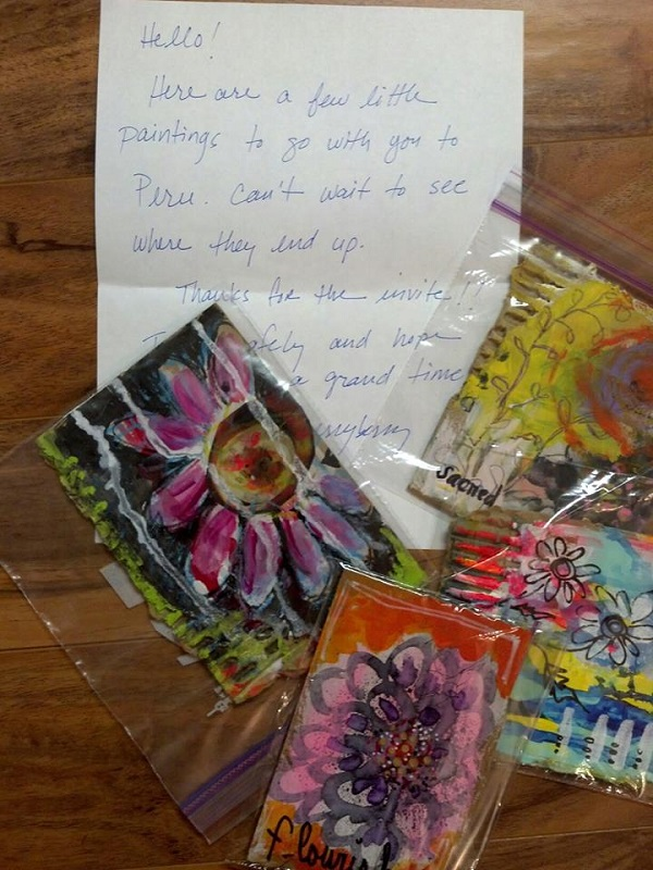 Georgia, USA Artist Sandy Leamon Derryberry sent me a sneak preview of what I would receive in the mail, sharing her excitement with her fellow art abandoners.
