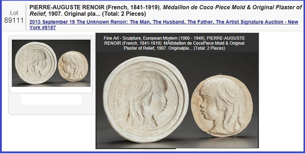 """PIERRE-AUGUSTE RENOIR (French, 1841-1919) Médaillon de Coco Piece Mold & Original Plaster of Relief, 1907  Original plaster  8-1/2 inches (21.6 cm) (relief diameter)  11-1/2 inches (29.2 cm) (diameter with borders)  Published by Hodebert, Paris & Flechtheim, Berlin  THE RENOIR COLLECTION    Renoir's first sculptural work, this medallion and the bust of his youngest son, Claude """"Coco"""" Renoir are the only two sculptures Renoir executed entirely with his own hands. The work was intended to decorate the fireplace in the dining room of Les Collettes at Cagnes, where it was displayed once finished.  Estimate: $20,000 - $30,000. LITERATURE:  P. Haesaerts, Renoir Sculptor, New York, 1947, p. 19, no. 1, illustration of another cast pl. III."""