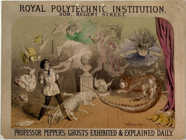 Royal Polytechnic Institution, Westminster. Professor Pepper's Ghosts, c. 1885 image: bl.uk