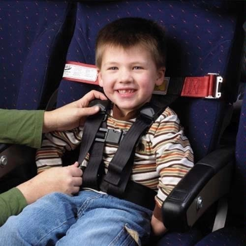 An example of an approved Child Airplane Travel Harness. CP