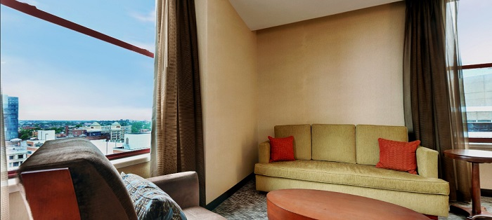"The Hyatt Regency's ""Huron Suite"" with a splendid downtown view."