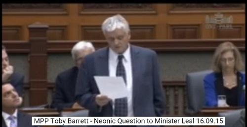 Barrett On Neonics Ontario Legislature