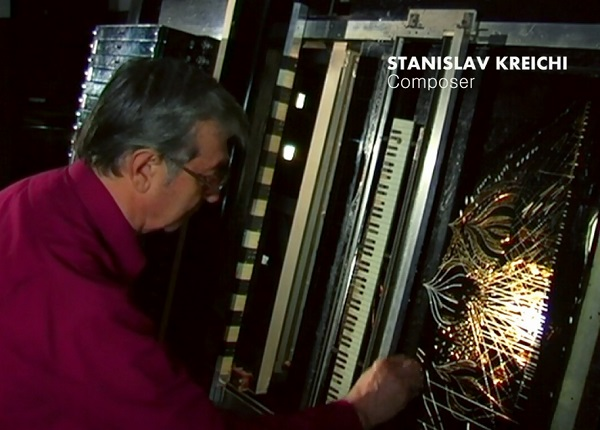 Stanislav Kreichi with ANS - world's first 'draw sound' synthesizer.