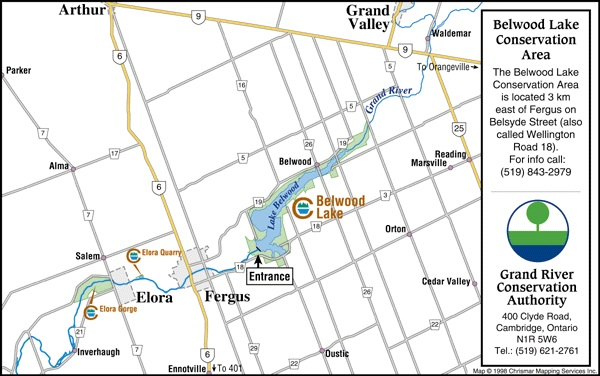 Belwood Lake Conservation Area GRCA Map