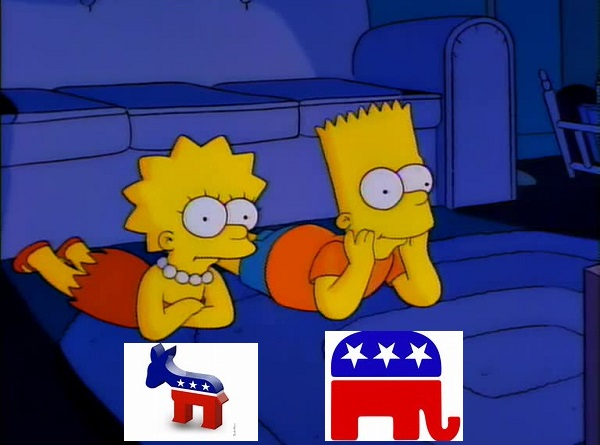 "Has politics become a reality TV show? Tonight's debate is being called the ""Lisa Simpson versus Bart Simpson"" debate."