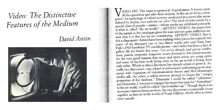 Video Art And Culture- The Distinctive Features Of The Medium By David Antin
