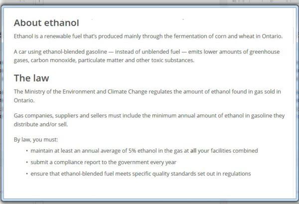 ethanol in gasoline ontario laws