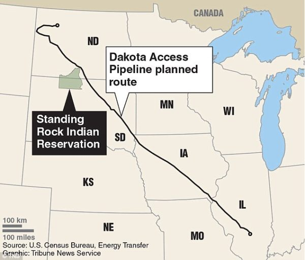 Part of what makes things contentious: The Planned route- depending on who you speak to, either crosses, nears, touches, goes through, or avoids Standing Rock Reservation.