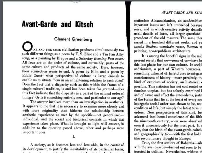 clement greenberg avant garde and kitsch essay