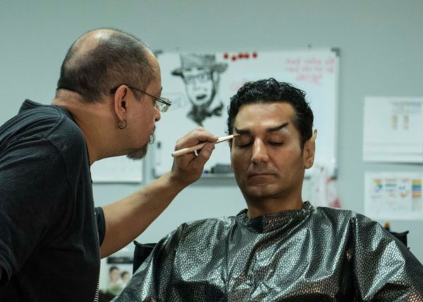 Cas Anvar in makeup chair for Star Trek Continues